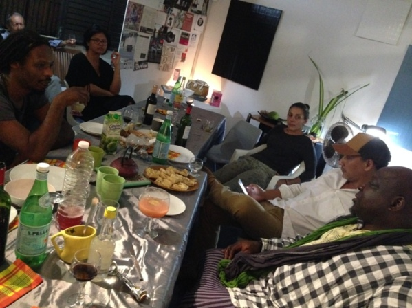 Private diner at L'Artocarpe with artist Nathalie Muchamad; Jean-Marc Hunt; Thierry Alet; Joelle Ferly; Barthélémy Toguo. Feb 2017
