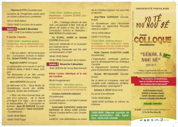 Programme of the Yo Té Pou Nou Sé International conference