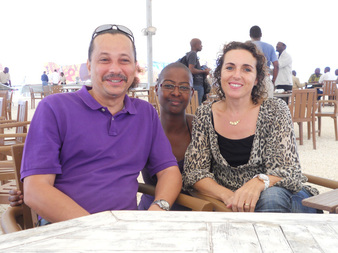 Three members of L'Artocarpe invited at the Fesman, Dakar, Senegal - December 2010. Hélène Valenzuela, Thierry Fazian and Joëlle