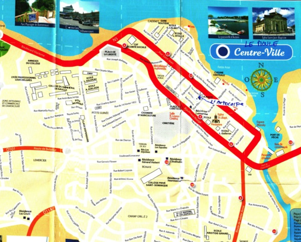 L'Artocarpe on the map... We are right in the middle of the town of Le Moule, Guadeloupe, French Caribbean