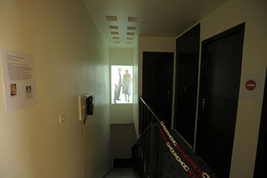 Exhibition at L'Artocarpe: all spaces are good enough to present artwork, even in the staircase (2009).