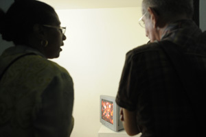 Exhibition at L'Artocarpe: visitor discussing in front of a video presentation (2009)