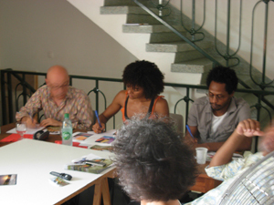 Photo: DR - Portfolio consultation with André Rouillé, Paris-art.com Director (France), Curator Claire Tancons (Guadeloupe USA) and Mario Lewis from Galvanize (Trinidad)