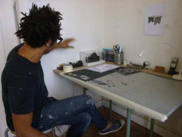 Sébastien Mehal dans son atelier à Paris. Nov. 14