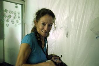 Art critic Nathalie Hainaut working on Henri Tauliaut 's practice at L'Artocarpe