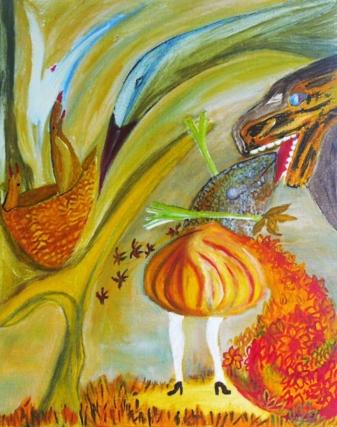 Un des tableaux de Maryel Sprire, dont le travail était visible au rez-de-chaussée du bâtiment.