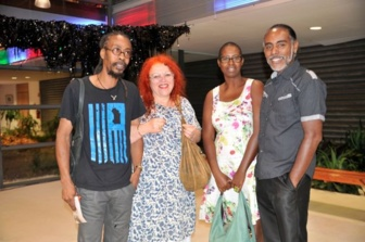 10 years on since Latitudes 2004! Régine Cuzin who set up the Latitudes exhibitions in Paris, seen here with 3 artists from Latitudes 2004, at the Gwadali exhibition in Port Louis, Guadeloupe 2014