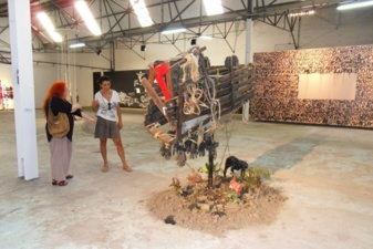 Visiting the BIAC exhibition with L'Artocarpe member in Martinique, Julie Bessard