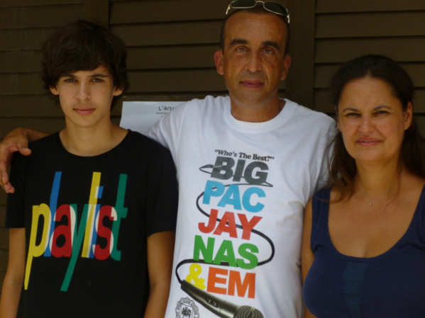 Isabelle Levenez (Right) in residence with her family, son Adam, an husband Stephan, a HIP HOP artist