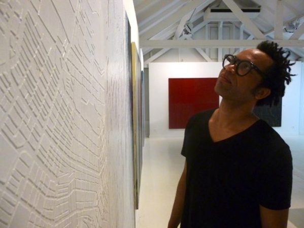 Sébastien Mehal (Martinique - Paris) minutes before the opening of his exhibition at the Clement Foundation, Martinique, Avril 2015. Sebastien Mehal is a member of L'Artocarpe...