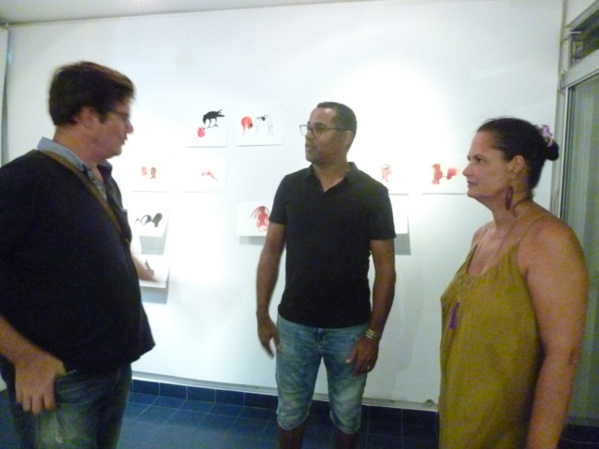 Thierry Major and Yves Bercion, both members based in Guadeloupe exchanging with Isabelle on L'Artocarpe's first floor