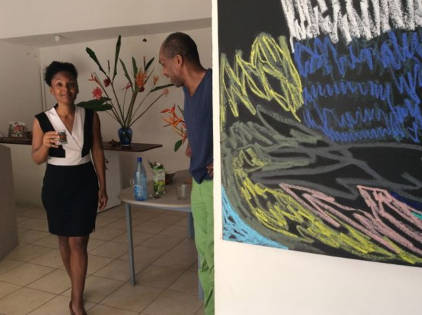 Our secretary Valerie Jean-Baptiste is a Teacher in Guadeloupe. Seen here during the visit of our member Julie Bessard's studio. Martinique.