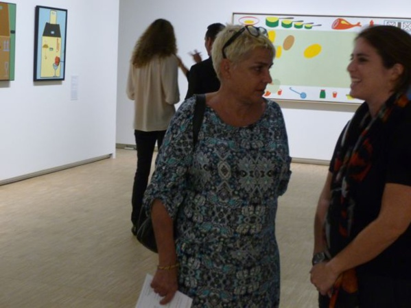 L'Artocarpe's member Sophie D'ingianni (left), an art teacher at the Art school of Martinique at the opening of Télémaque's exhibition