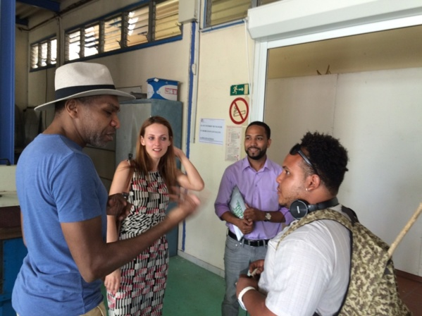 Lana Kustova (center) chair of L'Artocarpe was in Martinique earlier this year in visit to the art school of Martinique. She is to greet the students who are on tour in Big Apple later this week.