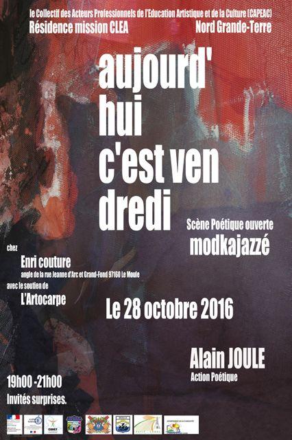"""""""Aujourd'hui C Vendredi"""": les lauréats de la Mission CLÉA, Charles Chulem Rousseau et Alain Joule seront dans la rue avec Mod Ka Jazzé et le soutien de L'Artocarpe"""
