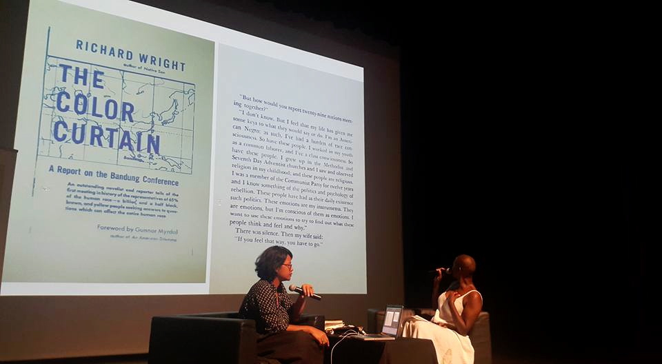 References to the Black Aesthetics were constant: here a passage of Richard Wright's book on his decision to report on the Bandung conference. Visual included in Nathalie's art installation.