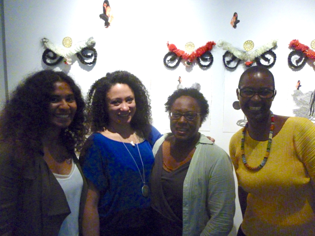 Kellys' opening exhibition in NY, June 2015, MOCADA. Kelly Sinnapah Mary, member of L'Artocarpe with fellow artists from the DVCAI US based platform, Groana and Juana and Joëlle Ferly, founder of L'Artocarpe
