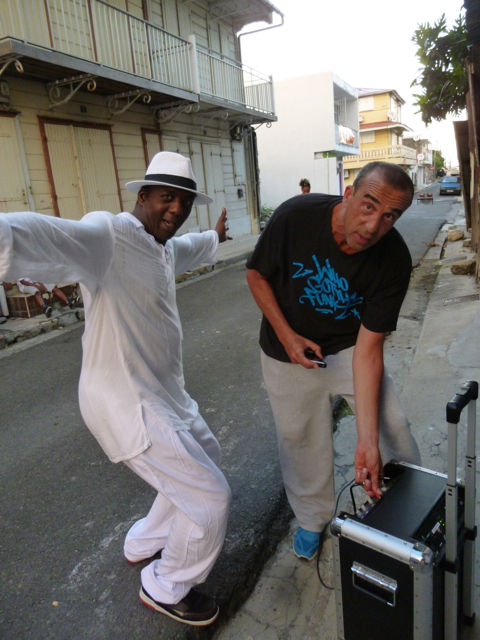 Isabelle's husband Stephane (right) reconnecting with Hip Hop colleague artist Leeroy (left) at L'Artocarpe