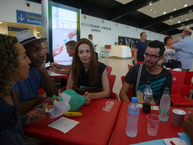 L'Artocarpe's team waiting to fly from Guadeloupe to Martinique. 23rd Jan. 2016