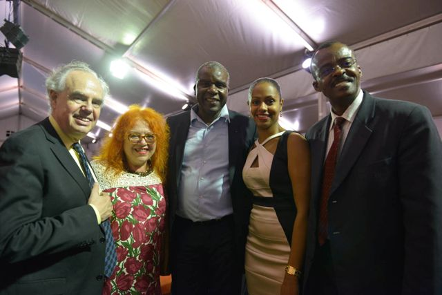 Regine Cuzin (second left) since among top officials at the launch of the New Fondation Clement in Martinique: from L to R, Frédéric Mittérand; Jacques Martial (Chair of Mémorial ACTe - MACTe); Manuela Nirhou (General Secretary MACTe) & Regional Council President of Guadeloupe, Mr Ary Chalus